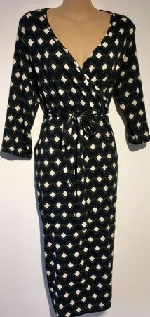 DOROTHY PERKINS DIAMOND PRINT JERSEY MATERNITY & NURSING DRESS SIZE 14